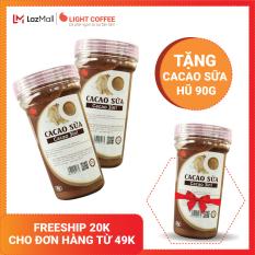 [MUA 1 COMBO TẶNG 1 HŨ] Combo 2 hộp Bột cacao sữa hòa tan 3 in 1 Light Cacao đậm đà thơm ngon,dùng pha uống liền, đặc biệt không hương liệu , không tấm ướp – 90g/hũ