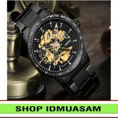[Có video quay thật] Đồng hồ cơ tự động dây thép không gỉ Nary IDMUASAM 6092 (Mặt đen)