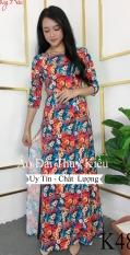Áo dài Thúy Kiều in 3D lụa Nhật hoa cúc nhí nhiều màu K48 – Xưởng sản xuất