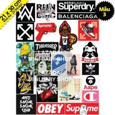 Bộ Sticker Chủ Đề Hypebeast, Bape, Supreme, Off White, 5theway – Khổ A4 Chống Thấm Nước