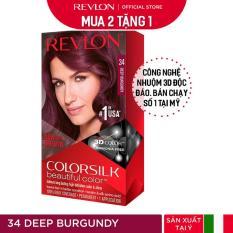 [Mua 2 tặng 1] Nhuộm tóc thời trang Revlon Colorsilk 3D – 34 Deep Burgundy – Đỏ R.ượu + Tặng 01 Khẩu Trang