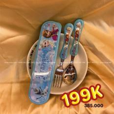 Set muỗng và nĩa inox kèm hộp đựng hình công chúa Elsa và Anna Frozen Disney màu xanh dương cho bé gái ăn uống – DP2126-X