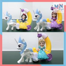 Đèn lồng Elsa, Sofia, Bạch Tuyết ngồi xe ngựa Pony chạy pin có nhạc có đèn cho bé chơi Trung Thu có tay cầm