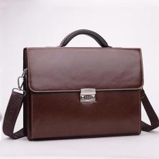Túi xách cặp da giáo viên đựng laptop 14 inch da bò công sở T23 khóa số (Nâu-Đen)