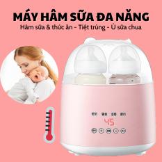 Máy hâm sữa tiệt trùng điện tử 2 bình siêu tốc đa chức năng, hấp được thức ăn, ủ sữa chua