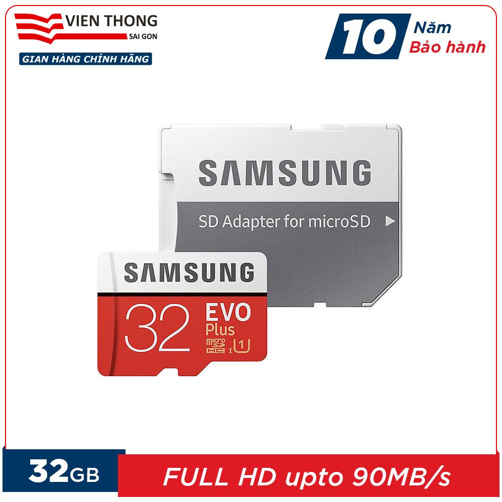 Thẻ nhớ 32GB microSDHC Samsung Evo Plus upto 95MB/s U1 kèm Adapter (Bảo hành 10 năm) – Hãng phân phối chính thức (PT)
