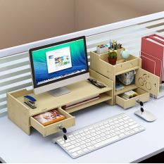 Kệ để bàn kệ máy tính và tài liệu để bàn bằng gỗ, kệ để máy tính ngăn kéo nhỏ có ổ khóa