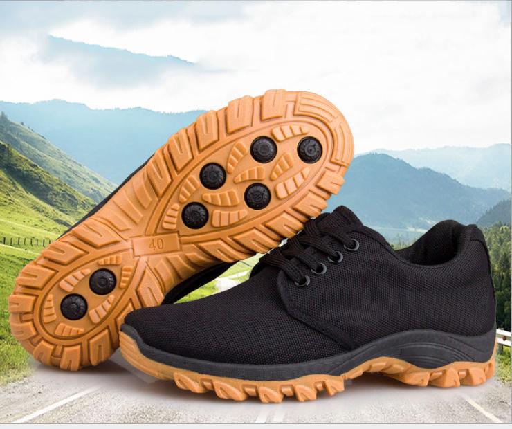 Giày nam đen cổ thấp phong cách bụi phượt