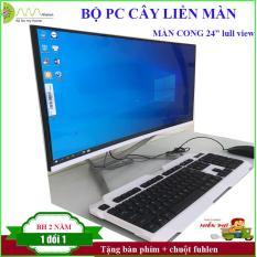 Bộ máy tính màn hình cong 24 full view, CPU intel i3 2100 (3.1Ghz) , Ram DDR3 8G/1600, SSD 240G, Chipset H61. cây liền màn (wifi+ key mouse)