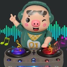 (Có sẵn) Heo phát nhạc – Chú heo thông minh phát nhạc chơi DJ nhảy theo nhạc và đèn cho bé