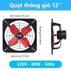Quạt hút thông gió (35*35, 220V, 80W, 1080m3/h) – Quạt hút 1 chiều, gắn cửa sổ phòng bếp