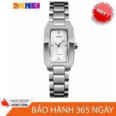 đồng hồ dây kim loại nữ skmei sk1240 dây thép không gỉ, mặt chữ nhật size mini cực xinh, chịu nước 30m ( màu bạc )