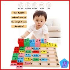 Đồ chơi tính toán trẻ em bộ Domino bảng gỗ tính toán bảng tính toán bộ 110 miếng khối gỗ đồ chơi logic trẻ em học sinh