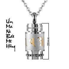 DÂY CHUYỀN TITAN OM MANI PADME HUM HÌNH TRỤ 25MM MD180 (Dây + mặt như hình) – Trang sức inox – titan TAJ giá rẻ bảo hành không đen tại HCM