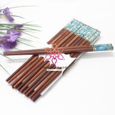 Bộ 10 đôi đũa ăn gỗ Cẩm lai đầu khảm trai Mỹ Nghệ