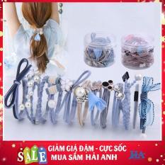 [CHỌN MÀU] Bộ hộp set 12 dây chun buộc tóc phong cách Hàn Quốc cực xinh, dây nơ cột tóc nữ nữ tính – GDLIEU09