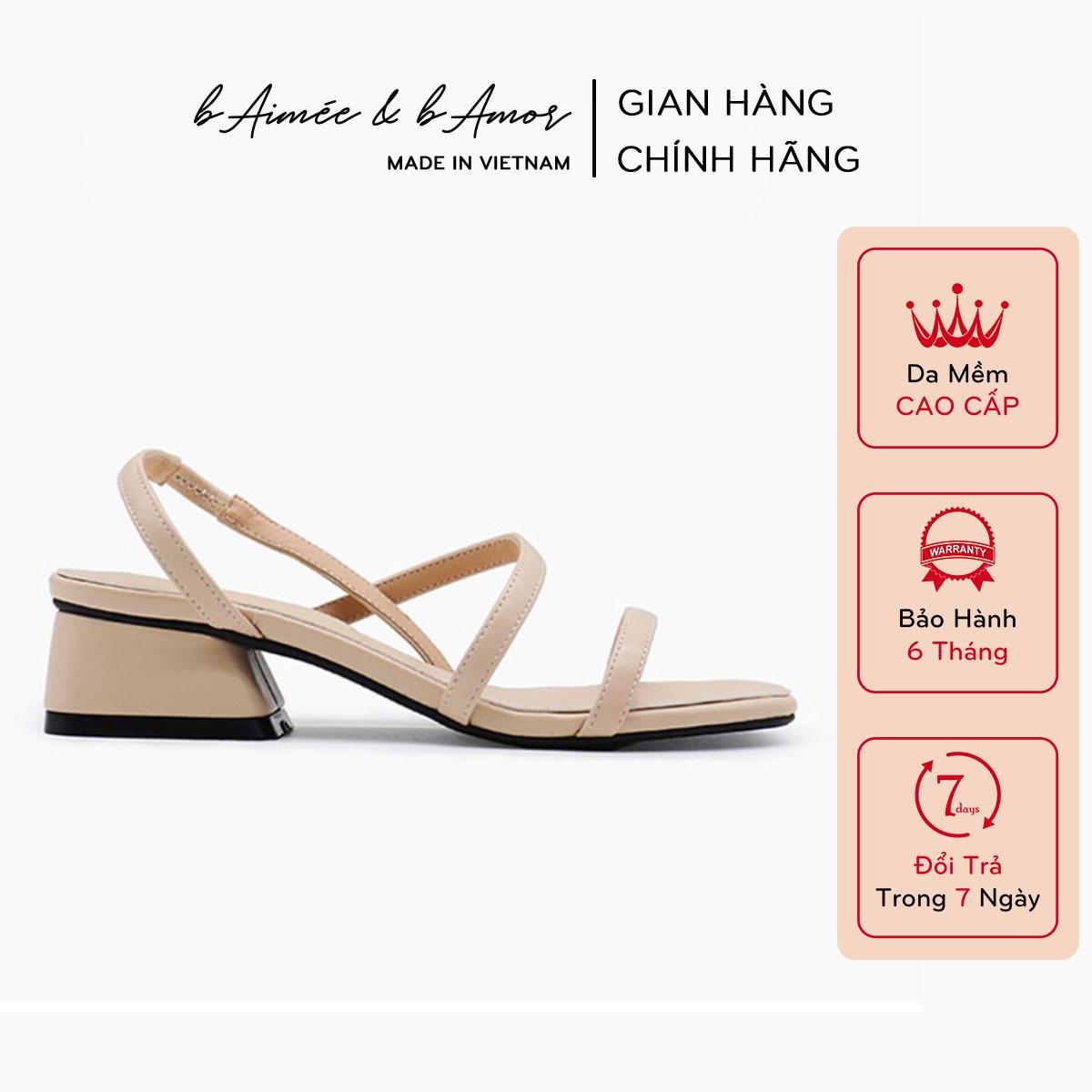Giày sandal nữ cao gót 3 phân quai mảnh gót vuông mũi vuông thời trang hàn quốc đẹp cao cấp...
