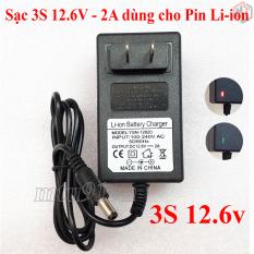 Sạc 3S 12.6V – 2A dùng cho Pin Li-ion (Lithium-ion) , Có Đèn Báo Đầy Pin (máy khoan, máy cắt)