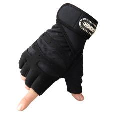 Bộ 2 găng tay tập gym có dây cuốn bảo vệ cổ tay Màu Đen