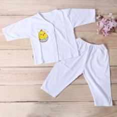Bộ quần áo sơ sinh dài tay màu trắng Bosini, cúc giữa cho bé từ sơ sinh đến 11kg