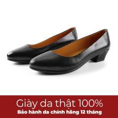 Giày gót vuông đẹp cao 3cm siêu mềm, giày cao gót hàng VNXK EVELYNV 3P36 (Đen)