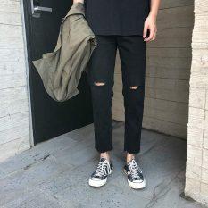 Quần Jeans Đen Rách lai – Phong cách hàn quốc ( jean co giãn tốt )