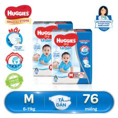 Bộ 2 Tã/bỉm dán Huggies dry super jumbo M76 (Đệm mây co giãn) – Gói 76 miếng (Cho bé từ 6-11kg)