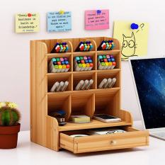 Kệ gỗ để bàn, để đồ dùng học tập, bút, notebook, dập ghim, điện thoại gọn gàng