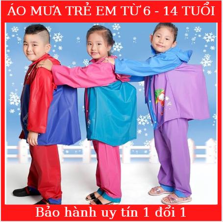 Áo mưa trẻ em – Bộ quần áo mưa có lưng che cặp trẻ em – Bảo vệ bé và cặp sách của bé – Hàng công ty Sơn Thủy – Chất liệu PVC có độ bền cao – Bảo hành 1 đổi 1 tại Bambo'Store
