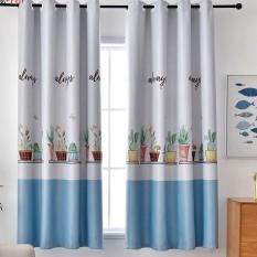 Rèm vải dày cao cấp ( có sẵn khoen tròn ) 2m cao – chậu hoa ( xanh )