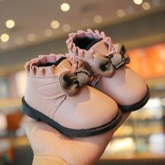 Giày Bốt Bé Gái Lót Lông Mỏng Đế Mềm Phong Cách Hàn Quốc Size 16-25 mã YUN03