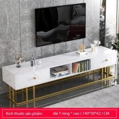 Kệ tủ để TV hiện đại mặt gỗ vân đá, khung chân sắt bền đẹp – Kệ tivi phòng khách có 2 ngăn kéo để đồ phong cách Châu Âu sang trọng