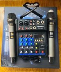 (Chuẩn Âmly, đẩy) Bàn Trộn Âm Thanh Kiêm Lọc Âm Mixer G4 Kèm 2 Mic, Không Dây Tiện Lợi Oto Loa Kéo Và Các Loại Loa Khác.Bộ Mixer 2 Mic Kèm Vang Đa Năng Hát Trên Mọi Loại Loa. Loa kéo, Loa Soundbar, Loa Bluetooth Đều Hát Được