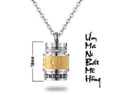 DÂY CHUYỀN TITAN UM MANI PADME HUM HÌNH TRỤ 19MM MD180M (Dây + mặt như hình) – Trang sức inox – titan TAJ giá rẻ bảo hành không đen tại HCM