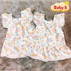 Đầm nơ ren cánh tiên cao cấp họa tiết hoa nhí nhẹ nhàng đáng yêu cho bé 1-7 tuổi chất cotton nhẹ mát xinh xắn Baby-S – SD072