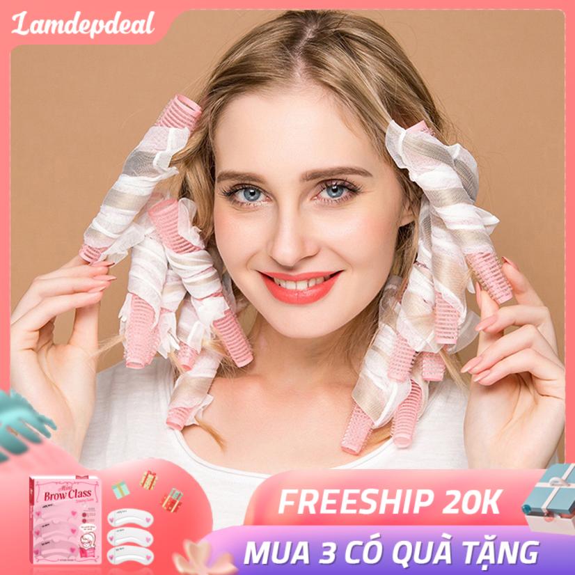 [HOT ITEM 2020] Bộ 10 lô uốn tóc xoăn lọn tự nhiên dạng ống lưới tự dính – Tạo mái tóc thời thượng và nữ tính, đơn giản dễ sử dụng – Lô uốn tóc không nhiệt không gây hại cho tóc và da đầu.