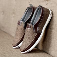 Giày lười vải nam khâu sườn siêu bền có 2 màu – B end T Shop