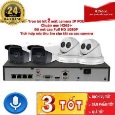 Trọn bộ 2 Camera IP POE 3 Megapixel ghi hình 2K có míc thu âm siêu nhạy và đầu ghi hình IP công nghệ POE kèm ổ cứng 500g chuẩn nén H265+ tiết kiệm băng thông , lưu trữ lên đến 90 ngày