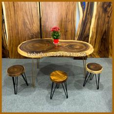Bộ bàn ăn gỗ me tây nguyên tấm dài142cm x rộng 78-73-66cmx dày 6cm