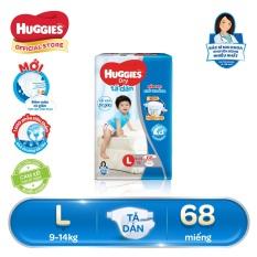 Tã/bỉm dán Huggies Dry Super Jumbo L68 (Đệm mây co giãn) – Gói 68 miếng (Cho bé 9kg – 14kg)