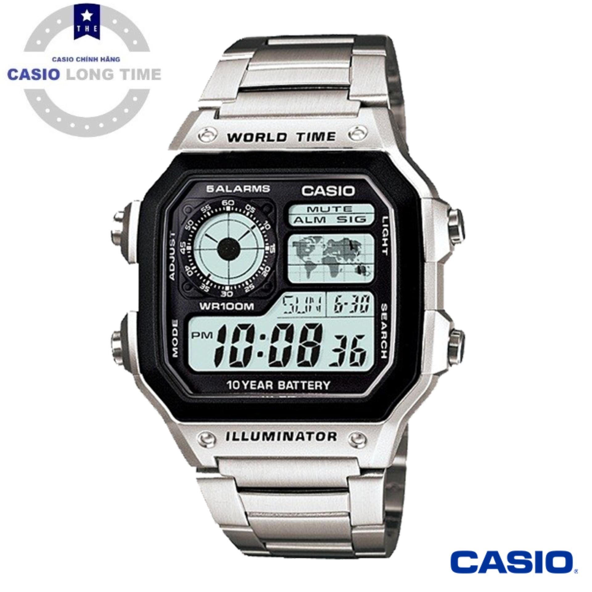 Đồng hồ nam Casio AE-1200WHD-1AV dây đeo kim loại – Pin 10 năm – Chống nước Tuyệt Đối