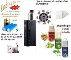 Bộ sản phẩm Vape_Box Tesla 90w – tank RDA tạo nhiều khói + Tặng 3 chai tinh dầu + 1 pin vape_18650 + 4 coils + 1 bịch bông Japan + 1 dây cáp sạc (đen)
