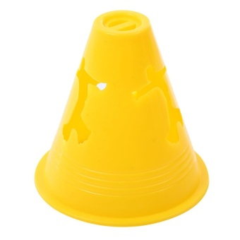 20pcs Human-figure Hole Anti-wind Fitness Equipment Drill Marker Cones Slalom for Football Skating (Yellow) - intl