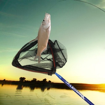 2.1m Portable Mini Triangle Fishing Net Shrimp Net LightweightCarbon Landing Net Brail with Telescoping Handle