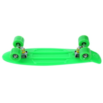 22 inch Four-wheel Street Long Mini Fish Skateboard (GREEN WHEEL) (Green) - intl