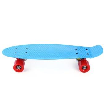 22 inch Four-wheel Street Long Mini Fish Skateboard (RED WHEEL) (Blue) - intl