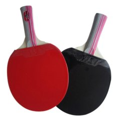 360WISH One Pair Long Handle Oxford Rubber Table Tennis Racket Set with 3 Table Tennis Balls – Red + Black