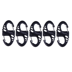 5PCS Climbing Hook S Type Carabiner Dual Buckle Keychain Mini Black – intl