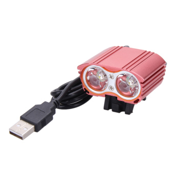 8000LM USB 2XCREE XM-L T6 LED Head Lamp Light Bicycle Headlight(Red) - intl