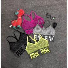 Áo Bra Croptop Pink Green xám (tập gym, thể dục,thể hình, yoga)